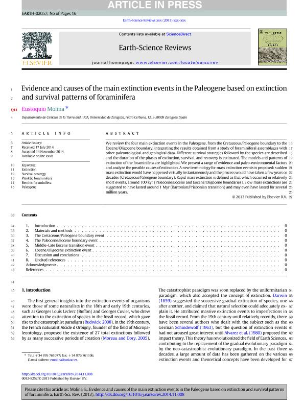Evidence and causes of the main extinction events in the Paleogene based on extinction and survival patterns of foraminifera