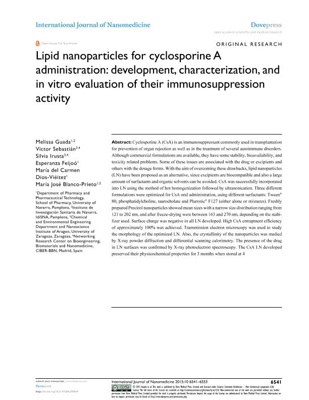 Lipid nanoparticles for cyclosporine a administration: Development, characterization, and in vitro evaluation of their immunosuppression activity