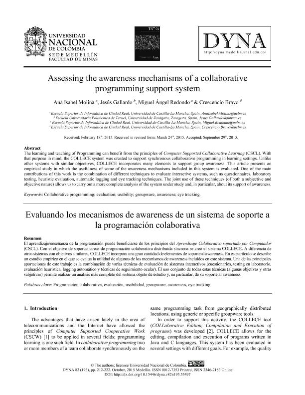 Assessing the awareness mechanisms of a collaborative programming support system