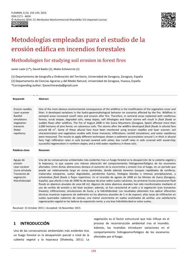 Metodologías empleadas para el estudio de la erosión edáfica en incendios forestales