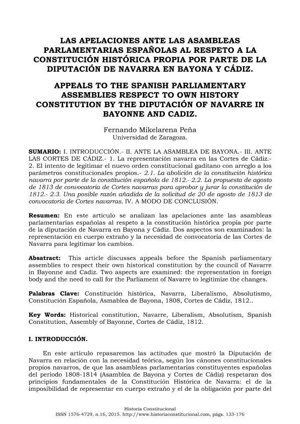 Las apelaciones ante las asambleas parlamentarias españolas al respeto a la Constitución histórica propia por parte de la Diputación de Navarra en Bayona y Cádiz