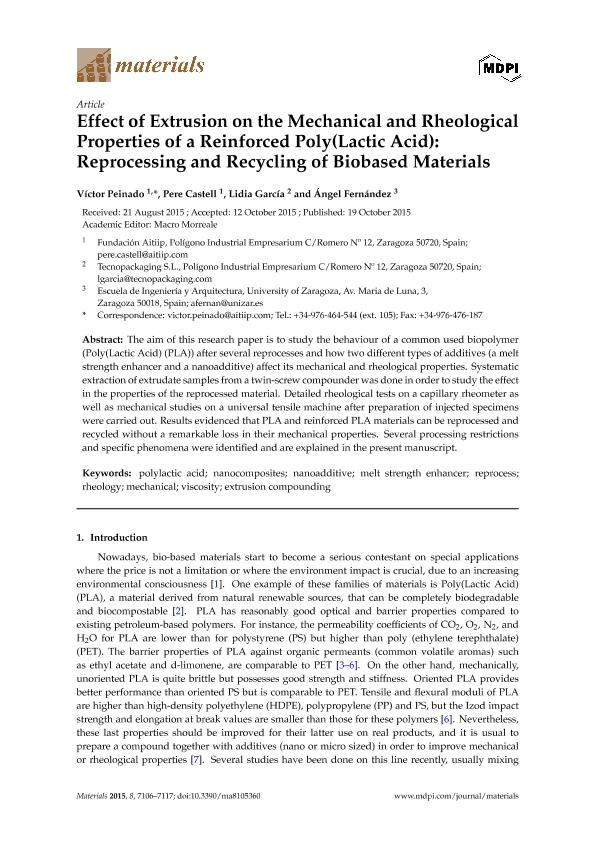 Effect of extrusion on the mechanical and rheological properties of a reinforced poly(lactic acid): Reprocessing and recycling of biobased materials