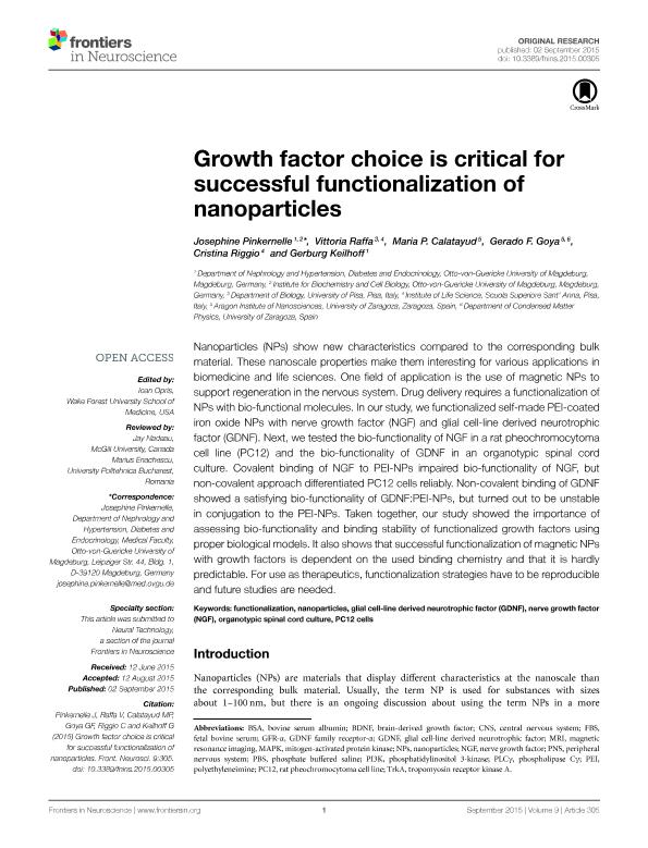 Growth factor choice is critical for successful functionalization of nanoparticles