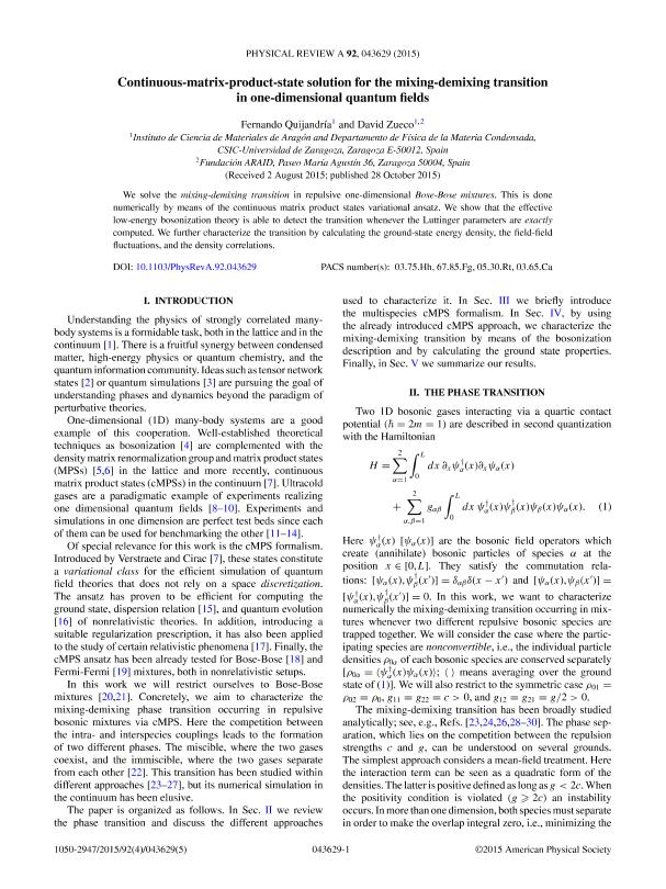 Continuous-matrix-product-state solution for the mixing-demixing transition in one-dimensional quantum fields