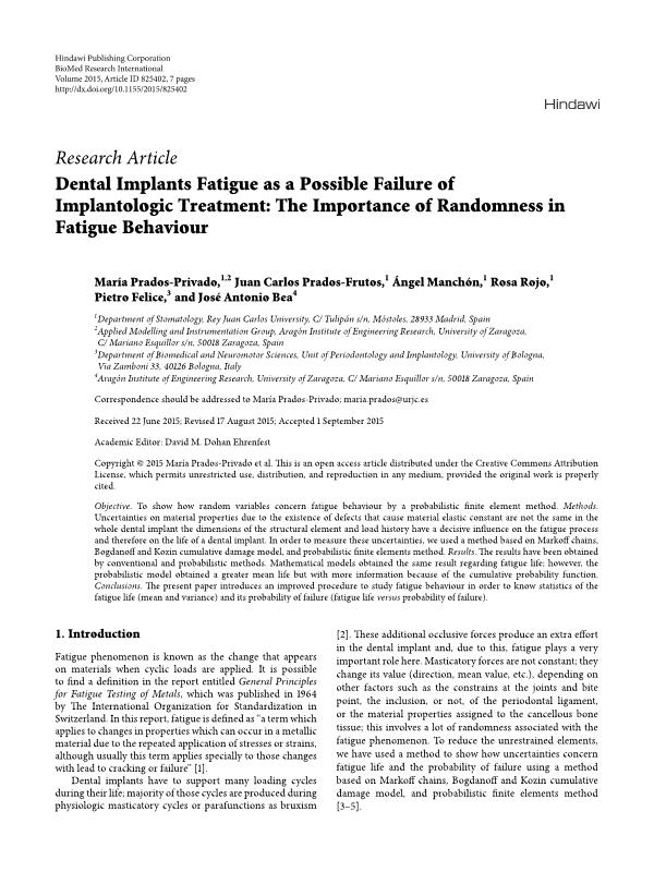Dental implants fatigue as a possible failure of implantologic treatment: the importance of randomness in fatigue behaviour
