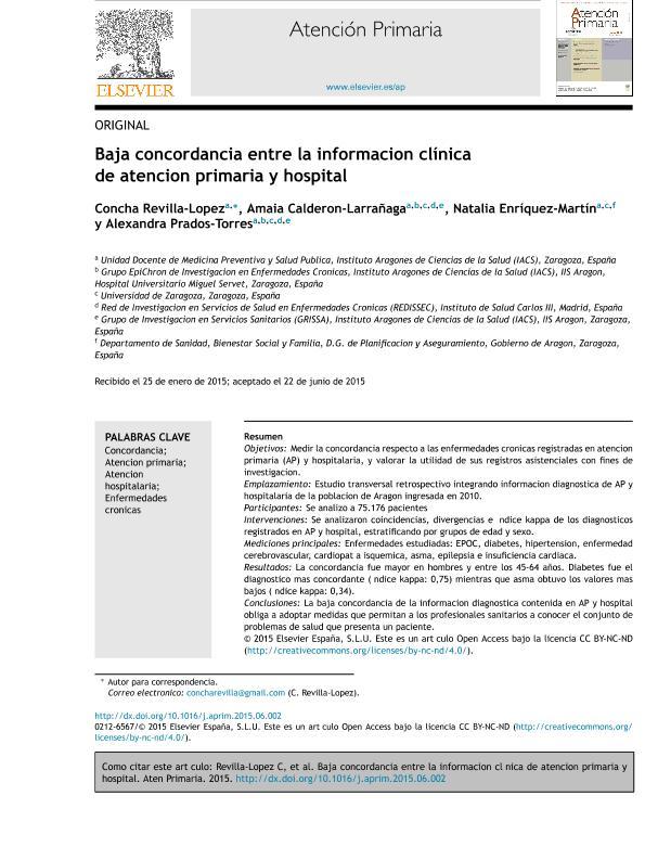 Baja concordancia entre la información clínica de atención primaria y hospital