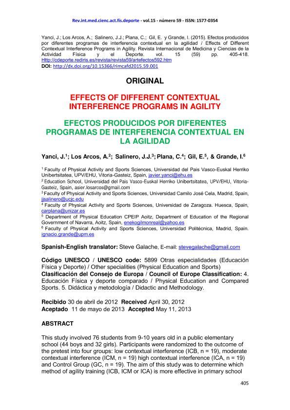 Effects of different contextual interference programs in agility (Efectos producidos por diferentes programas de interferencia contextual en la agilidad)