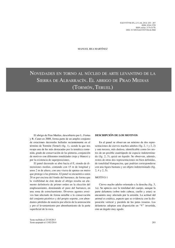 Novedades en torno al núcleo de arte levantino de la Sierra de Albarracín. El abrigo de Prao Medias (Tormón, Teruel)