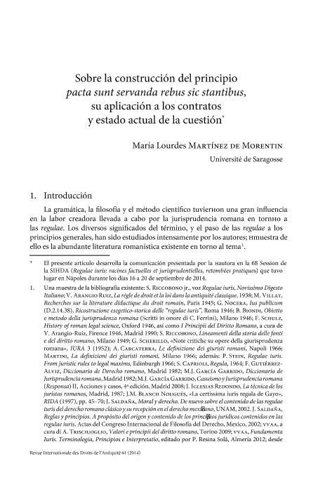 Sobre la construcción del principio pacta sunt servanda rebus sic stantibus, su aplicación a los contratos y estado actual de la cuestión