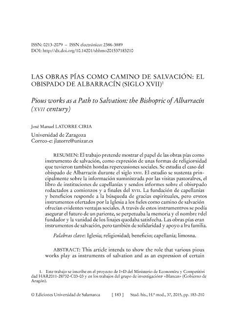 Las obras pías como camino de salvación: el obispado de Albarracín (Siglo XVII)