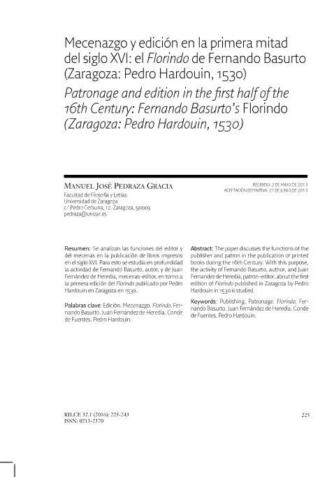Mecenazgo y edición en la primera mitad del siglo XVI: el Florindo de Fernando Basurto (Zaragoza: Pedro Hardouin, 1530)
