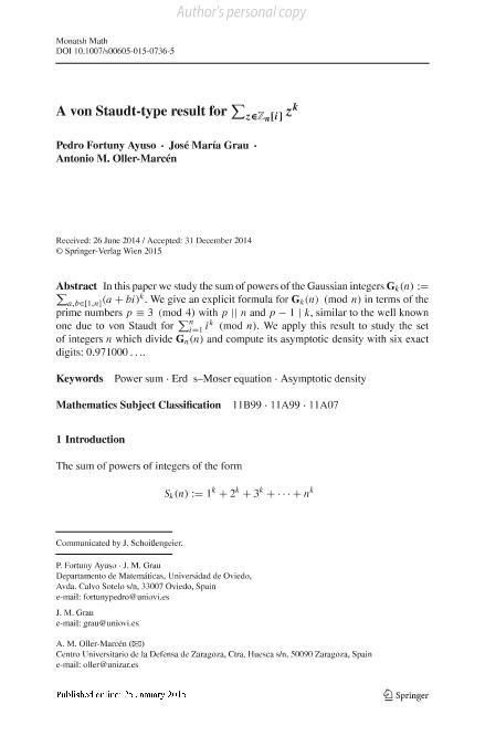 A von Staudt-type result for $\displaystyle{\sum_{z\in\mathbb{Z}_n[i]} z^k }$