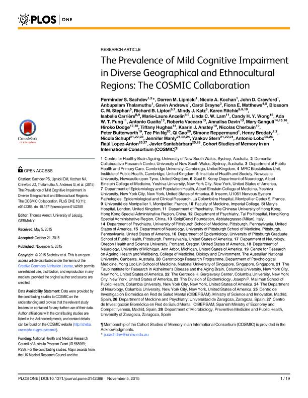 The prevalence of mild cognitive impairment in diverse geographical and ethnocultural regions: The COSMIC Collaboration