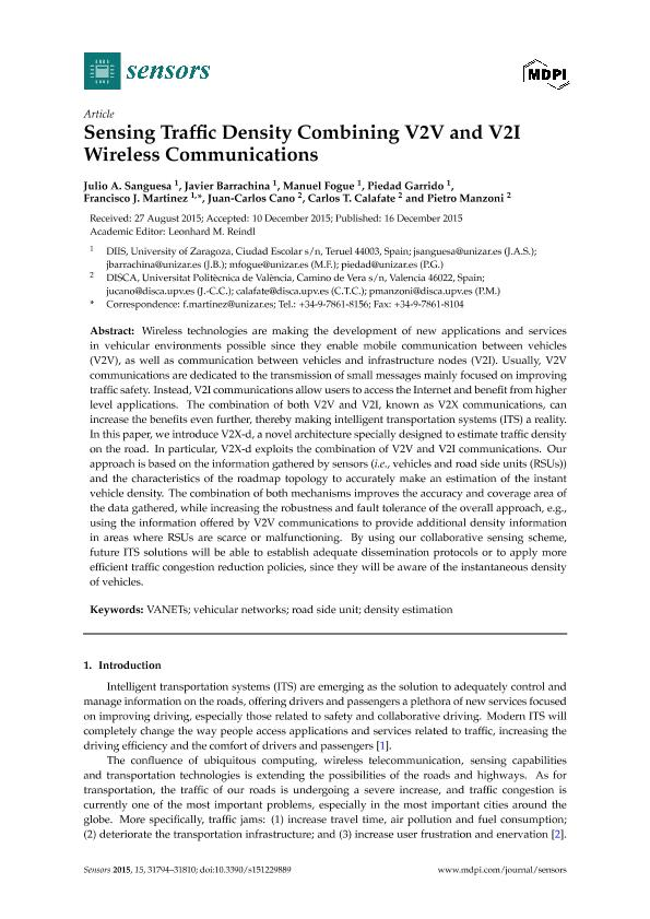 Sensing traffic density combining V2V and V2I Wireless Communications