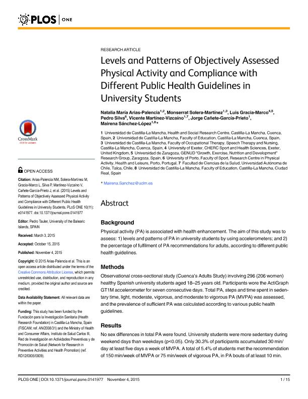 Levels and patterns of objectively assessed physical activity and compliance with different public health guidelines in university students