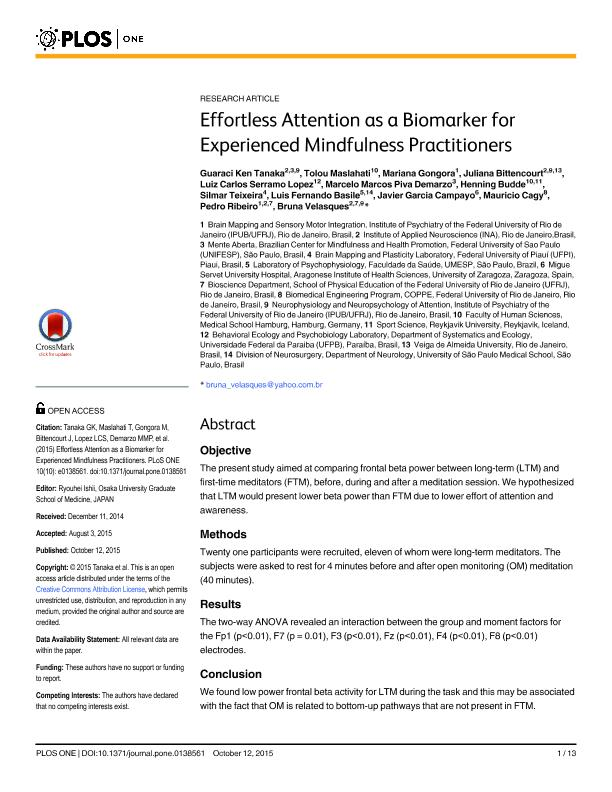 Effortless attention as a biomarker for experienced mindfulness practitioners