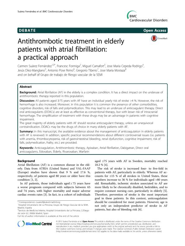 Antithrombotic treatment in elderly patients with atrial fibrillation: A practical approach