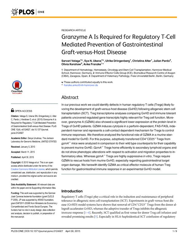 Granzyme a is required for regulatory T-cell mediated prevention of gastrointestinal graft-versus-host disease
