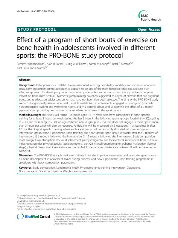 Effect of a program of short bouts of exercise on bone health in adolescents involved in different sports: The PRO-BONE study protocol Health behavior, health promotion and society