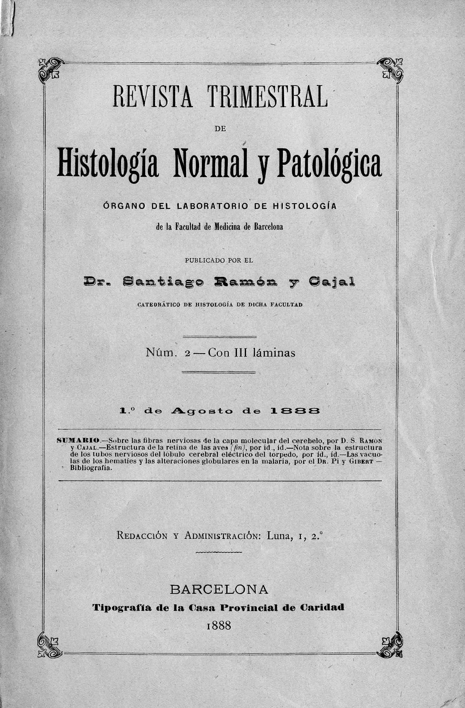 Revista trimestral de histología normal y patológica, Año 1, n. 2 (1888)