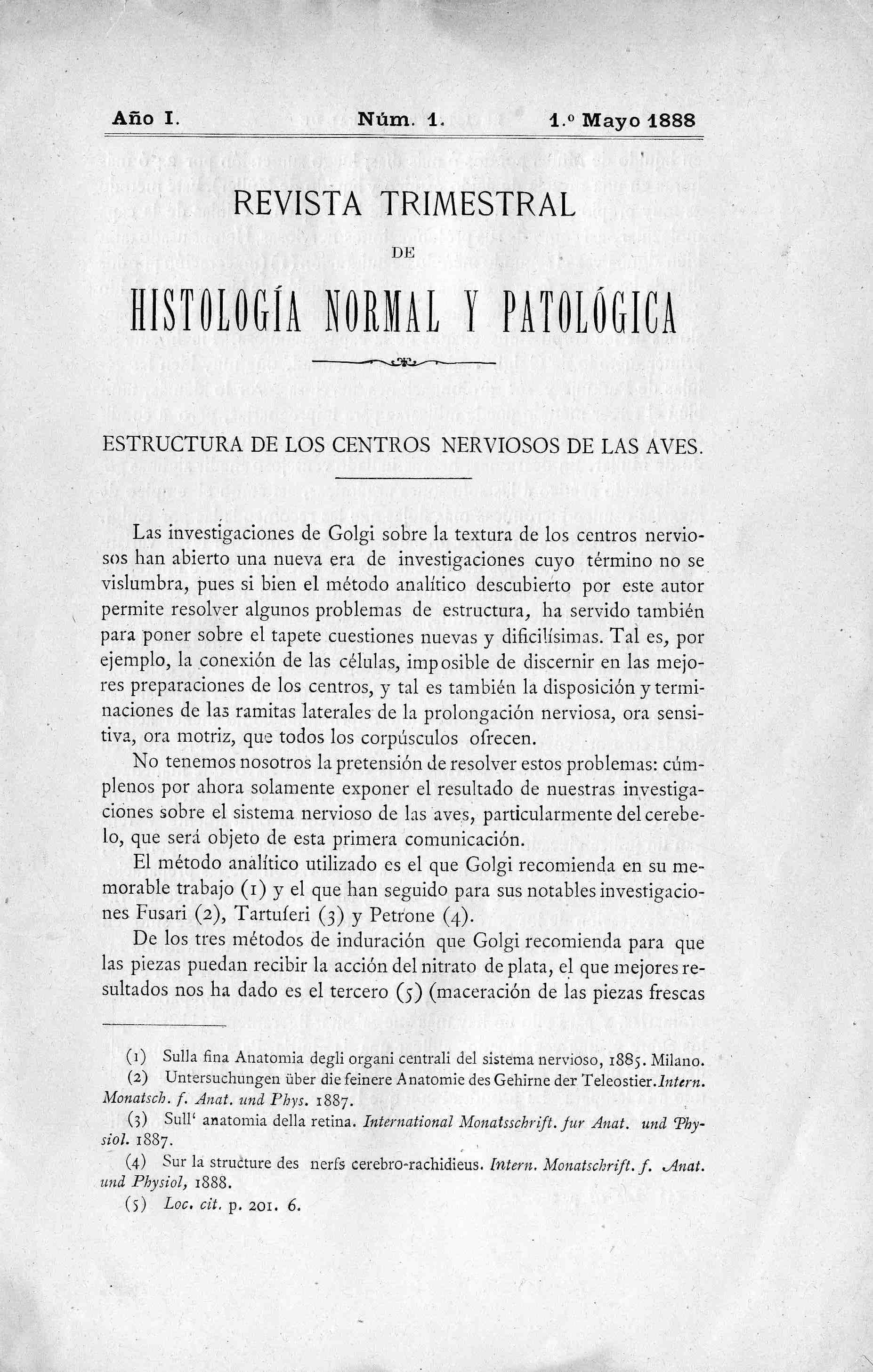 Revista trimestral de histología normal y patológica, Año 1, n. 1 (1888)