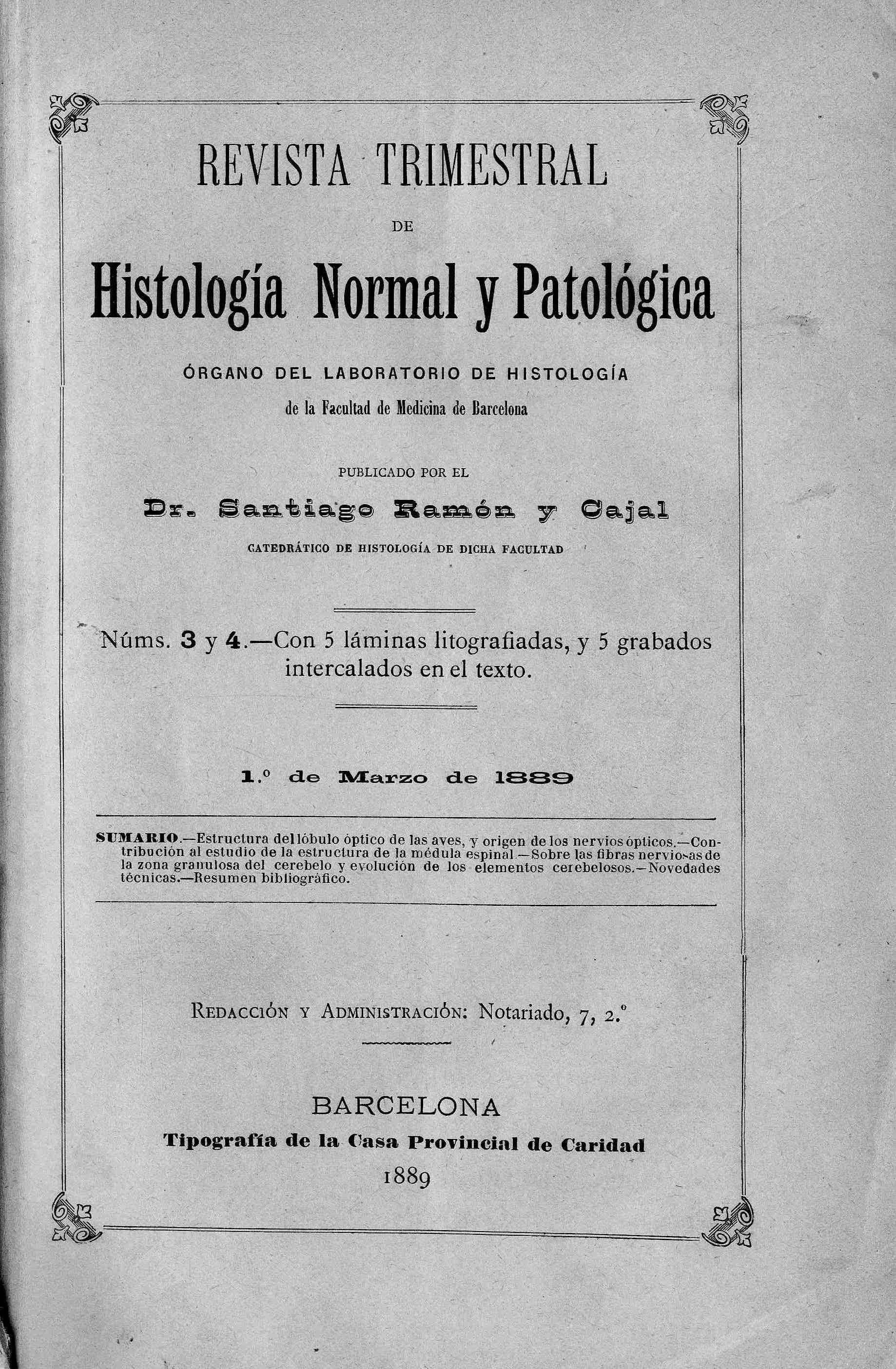 Revista trimestral de histología normal y patológica, Año 1, n. 3-4 (1889)