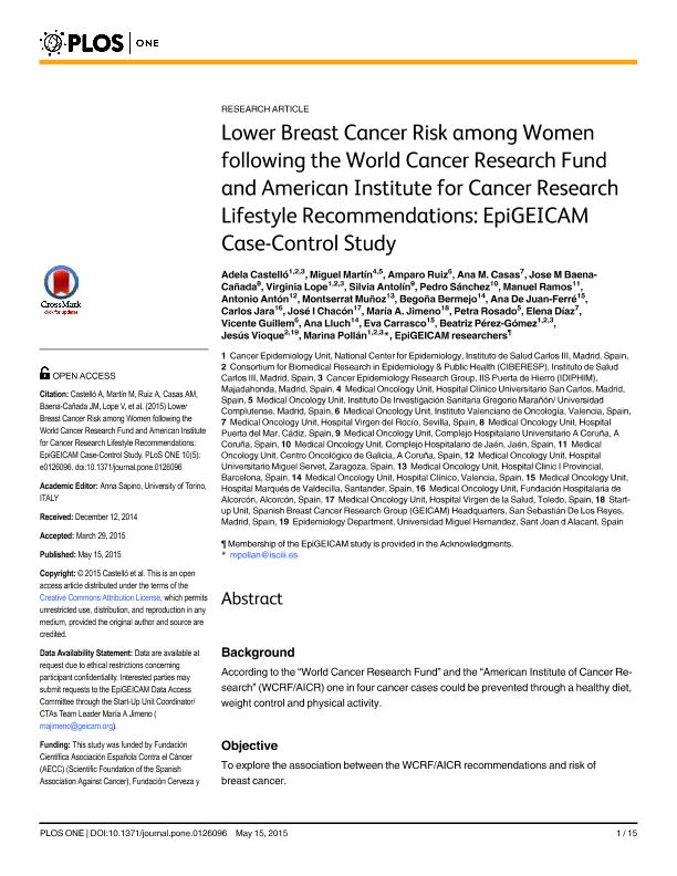 Lower breast cancer risk among women following the World Cancer Research Fund and American Institute for Cancer Research lifestyle recommendations: Epigeicam case-control study
