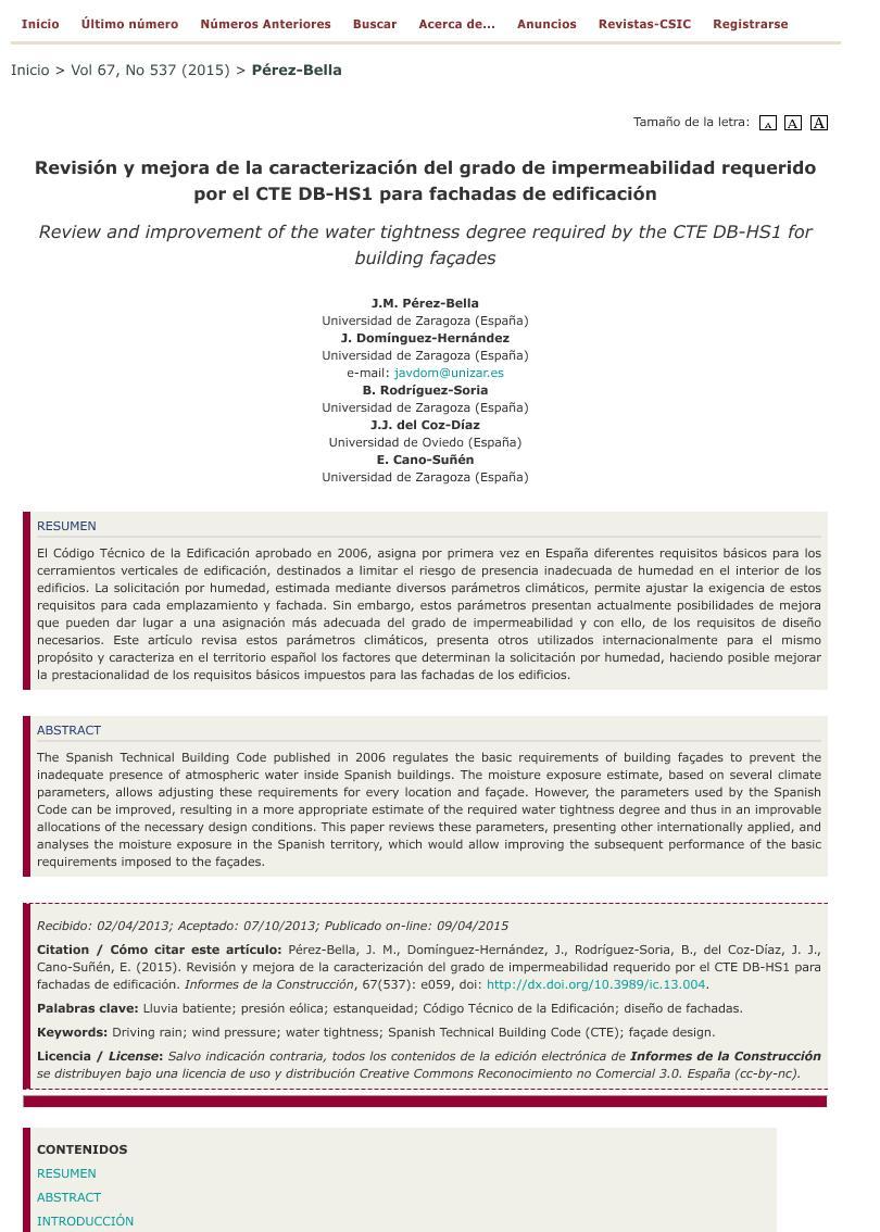 Revisión y mejora de la caracterización del grado de impermeabilidad requerido por el CTE DB-HS1 para fachadas de edificación