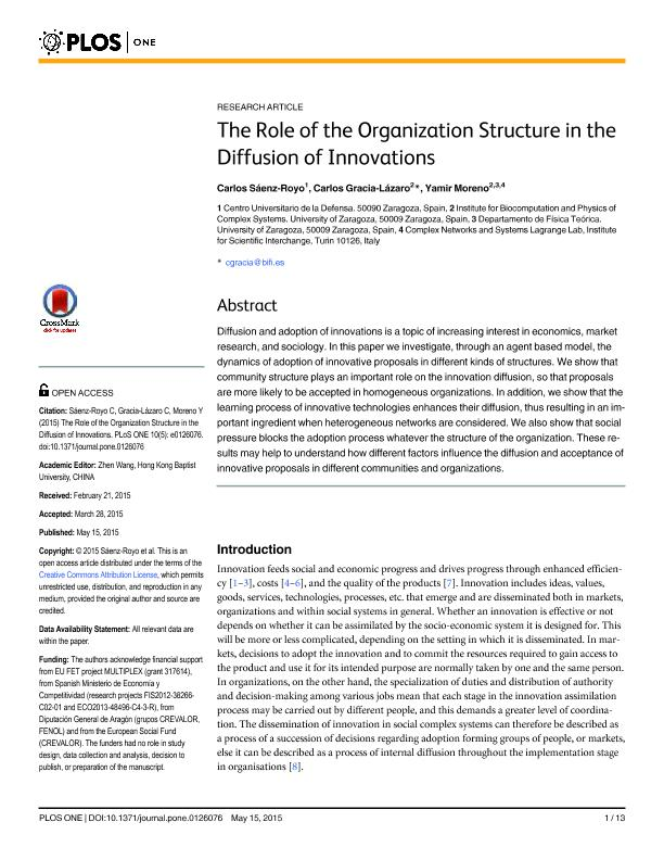 The role of the organization structure in the diffusion of innovations