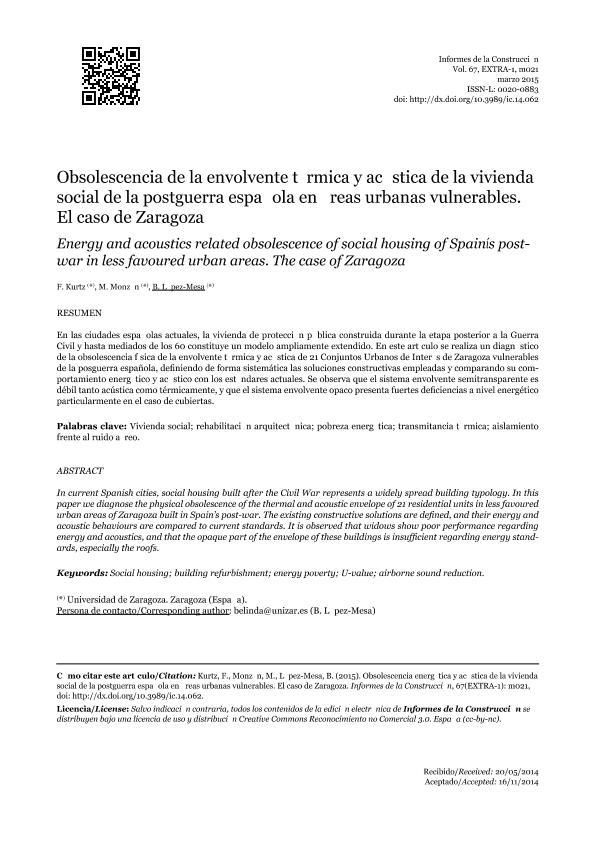 Obsolescencia de la envolvente térmica y acústica de la vivienda social de la postguerra española en áreas urbanas vulnerables: El caso de Zaragoza