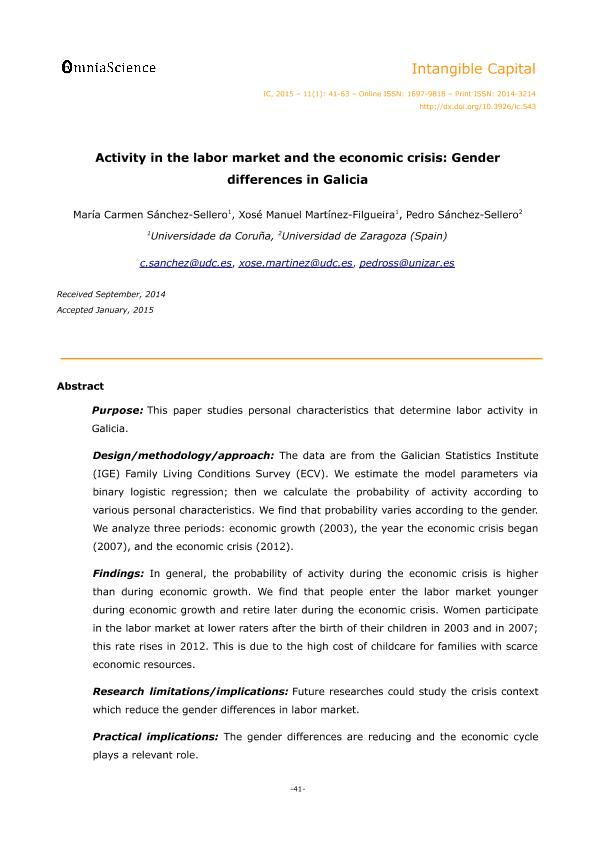 Activity in the Labor Market and the Economic Crisis: Gender Differences in Galicia