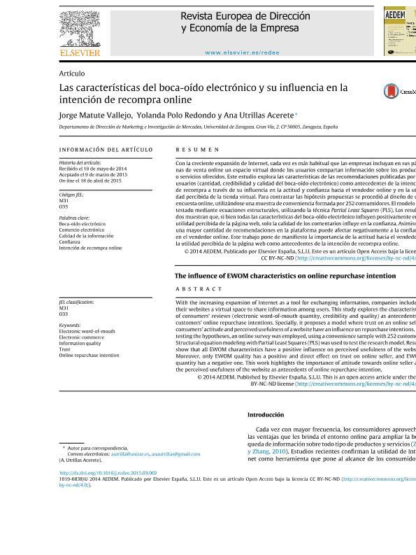 Las características del boca-oído electrónico y su influencia en la intención de recompra online