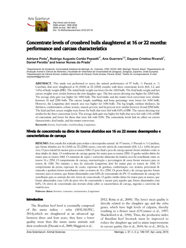Concentrate levels of crossbred bulls slaughtered at 16 or 22 months: Performance and carcass characteristics