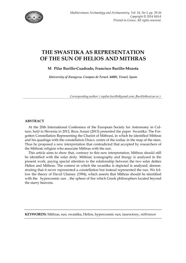 The swastika as representation of the Sun of Helios and Mithras