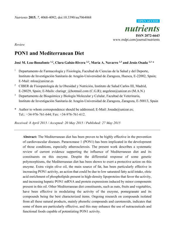 PON1 and mediterranean diet