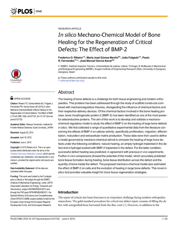 In silico mechano-chemical model of bone healing for the regeneration of critical defects: The effect of BMP-2