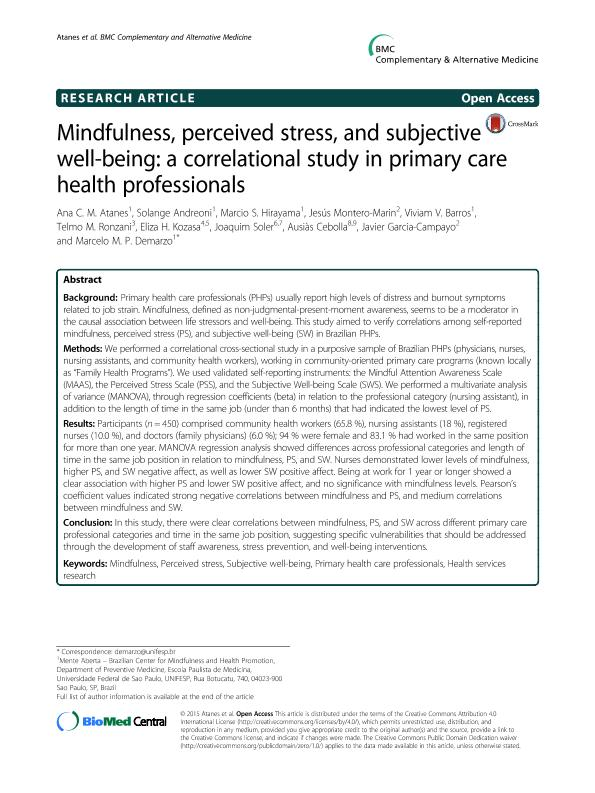 Mindfulness, perceived stress, and subjective well-being: A correlational study in primary care health professionals