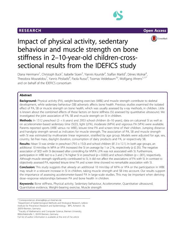 Impact of physical activity, sedentary behaviour and muscle strength on bone stiffness in 2-10-year-old children-cross-sectional results from the IDEFICS study