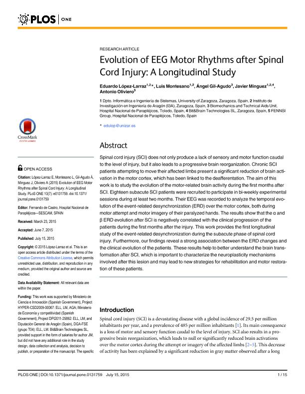 Evolution of EEG motor rhythms after spinal cord injury: A longitudinal study