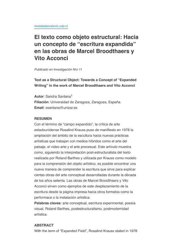El texto como objeto estructural: Hacia un concepto de «escritura expandida» en las obras de Marcel Broodthaers y Vito Acconci