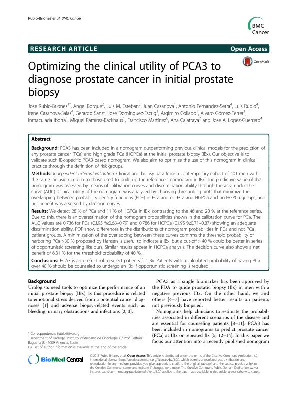 Optimizing the clinical utility of PCA3 to diagnose prostate cancer in initial prostate biopsy
