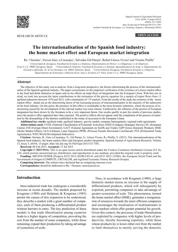 The Internationalisation of the Spanish food industry: The home market effect and European market integration