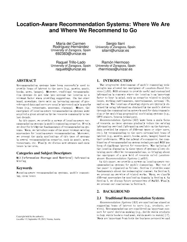 Location-aware recommendation systems: Where we are and where we recommend to go