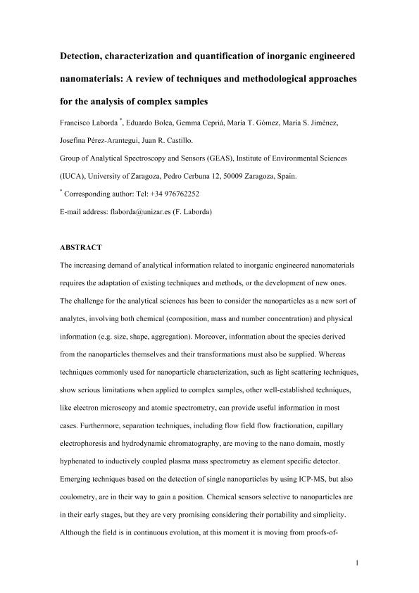 Detection, characterization and quantification of inorganic engineered nanomaterials: A review of techniques and methodological approaches for the analysis of complex samples
