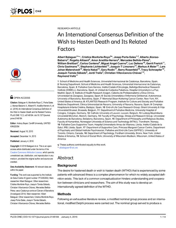 An international consensus definition of the wish to hasten death and its related factors