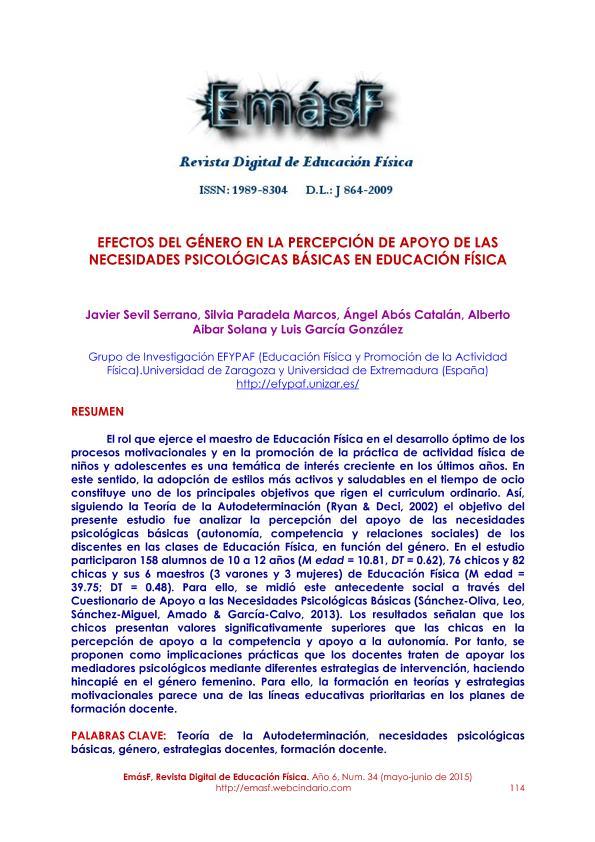 Efectos del género en la percepción de apoyo de las necesidades psicológicas básicas en educación física