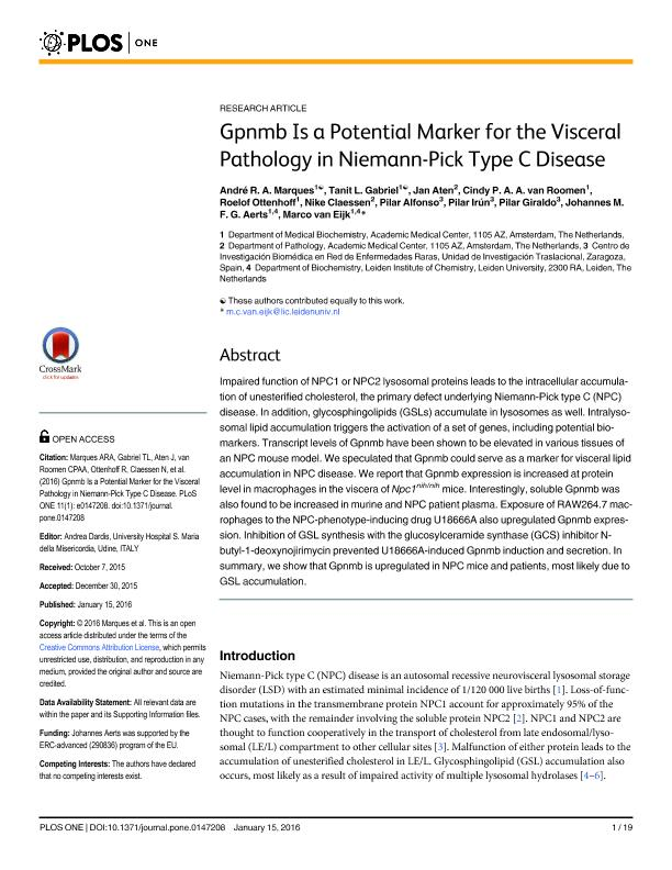Gpnmb is a potential marker for the visceral pathology in Niemann-Pick type C disease