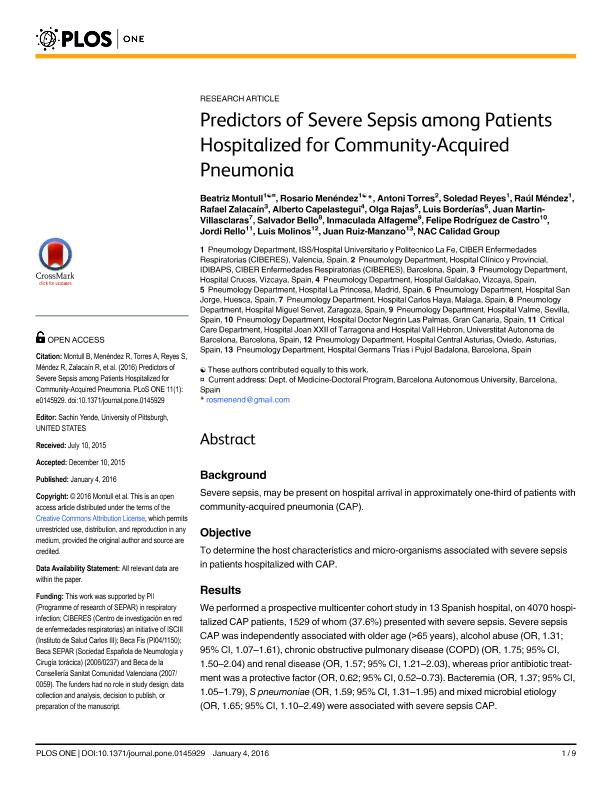 Predictors of severe sepsis among patients hospitalized for community-acquired pneumonia