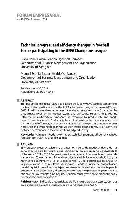 Technical progress and efficiency changes in football teams participating in the UEFA Champions League