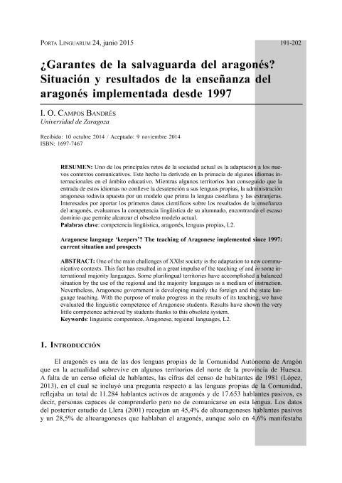 ¿Garantes de la salvaguarda del aragonés? Situación y resultados de la enseñanza del aragonés implementada desde 1997